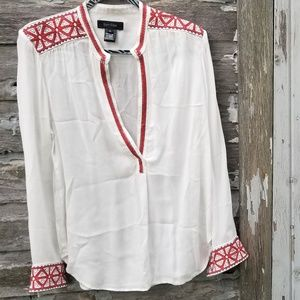 Embroidered Boho White Low Cut Tunic